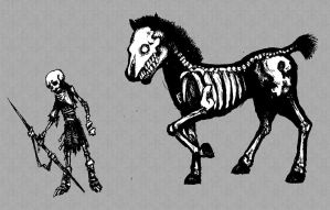 Horsemin and Skelemin by AngryUnit