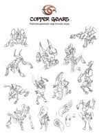 Sketches of Siera's golems by Keleus