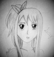 Lucy Heartfilia - Drawing (BlackAndWhite) by Lillylulla