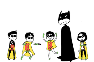Robins and a Daddybat by Kaiqx