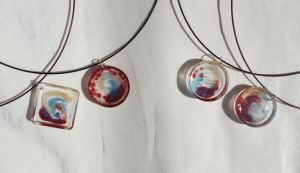 4 Resin Pendants by leighanief