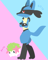 PR - Shaymin and Lucario by drill-tail