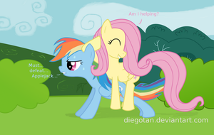 Rainbow Dash and Fluttershy training Wallpaper by DiegoTan