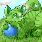 Green Cat by Mewitti