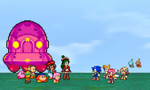 PC - Kirby and friend meet sonic by Aquamimi123