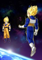 Son Goku vs Vegeta by oume12
