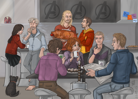 Avengers' Breakfast ver. 2 by Tenshi-Inverse