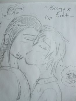 Eret x Hiccup The First Kiss (sketch version) by djlee6