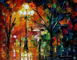Red umbrella by Leonid Afremov by Leonidafremov