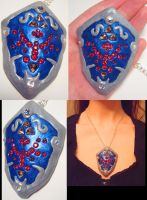 Sparkly Hylian Shield Pendant by wickedorin