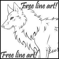 FREE LINEART - Wolf by WildSpiritWolf