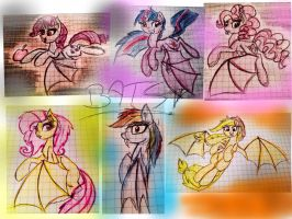 BATS! The mane 6 as vampires. by MarieRG