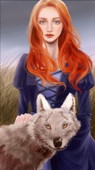 Sansa Stark and Lady by witchofwest