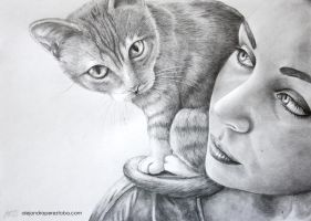 A girl and her cat by Alejandra-perez
