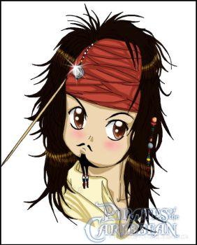 Chibi Jack Sparrow coloured by InvisibleRainArt