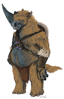 Wooly Rhino man by OfficerBadger