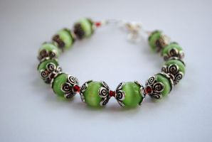 Green Cats Eye Bracelet by shikerche
