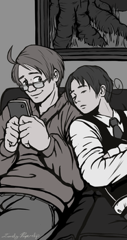 Feliciano and Alfred Relax by Lonely-Paperclip