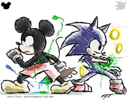 Mickey and Sonic - classic by ArtisticWarrior0