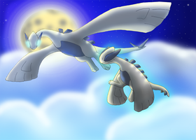 Lugia and Baby Lugia 2: by CosmicSprinkles