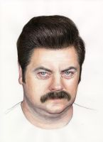 Ron Swanson Portrait, Nick Offerman by Olechka01