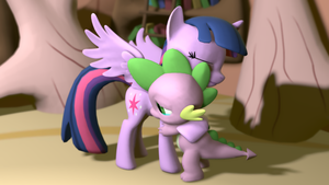 Twilight Comforts Spike by NightB1ader