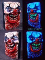 Flesh Style Evil Clown Zippo by Undead Ed Glows in by Undead-Art