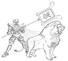 Visionaries : Leoric The Lion Bw by southpawdragon