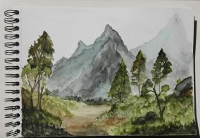 Through the mountains - watercolor sketch by SilvanaSobral