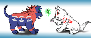Oki and Ammy Meet Issun by rikusumi