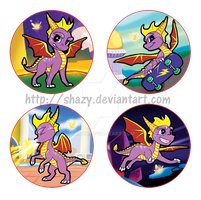 Spyro the Dragon Button-Badges~ by shazy
