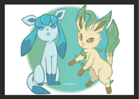 Glaceon and Leafeon by tachii