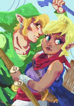 Wind Waker -Tetra and Link by Dunnstar