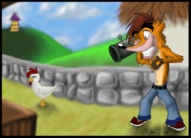 Shooting chickens by ericbandicoolf