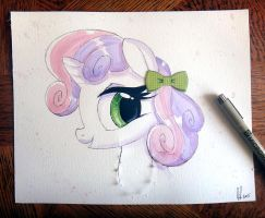 Sweetie Belle 3D Watercolor Painting by PrettyPinkP0ny