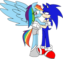 Sonic And Rainbowdash by cdla