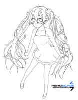 Miku Hatsune - Vocaloid(Lineart) by aeroblade7