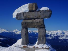 Inukshuk rock statue at Whistl by skalin