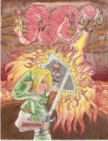 Link vs Volvagia by atamari101