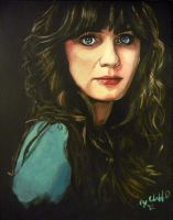 Zooey Deschanel my painting by cliford417