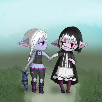 Yordle Nyx and Yordle Cynthia by MizuhoTF