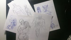 I've found my Lineage2 sketches on paper... by Manamba