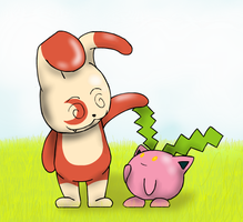 Spinderp Request: Spinderp and some Hoppip by Weaponized-Wafflez