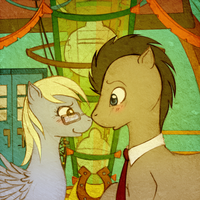 Derpy and Doctor Whooves by tinuleaf