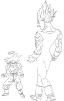 Majin Vegeta vs Goku by OsoroshiiYasai