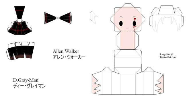 D.Gray-man OC Papercraft - Allen Walker by Larry-San