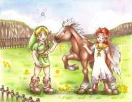Link meets Malon and Epona by Sarah888