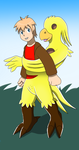 Comission: Anthro Chocobo Suit TF TG by PhoenixWulf