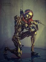 Mechanical woman and bird by ByteStudio