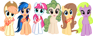 [OPEN] Recolored Mane 6 by The-CookiezZ